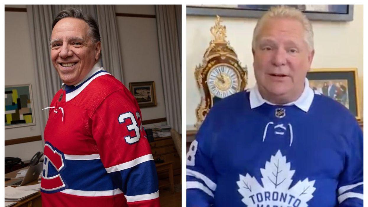 François Legault nargue Doug Ford, le PM de l'Ontario, après avoir gagné un pari