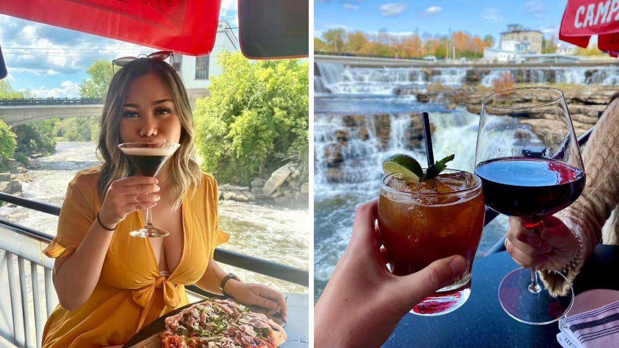 Joe's Italian Kitchen: La terrasse avec vue sur des chutes en Ontario