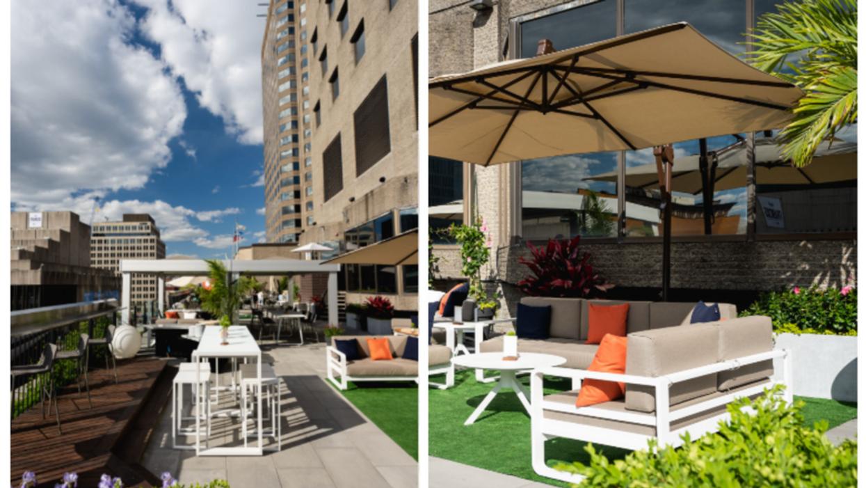 Cette nouvelle terrasse aux allures de garden party offre une vue WOW sur le centre-ville
