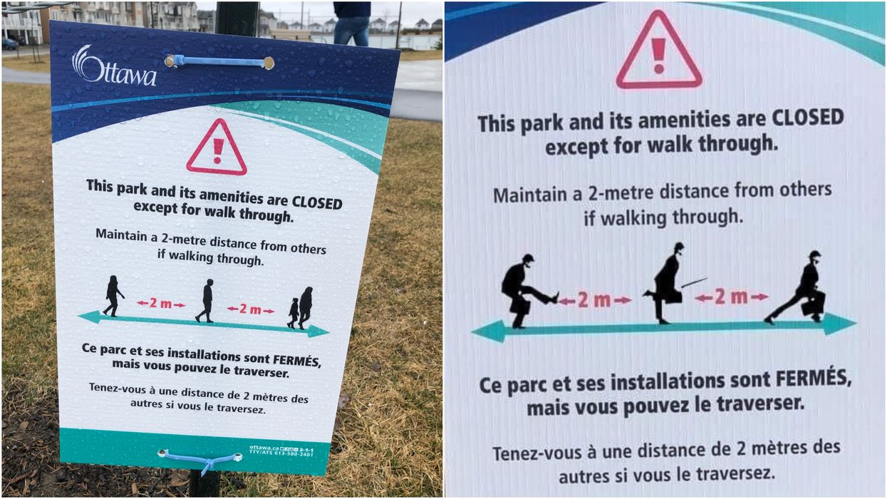 Ottawa's Social Distancing Signs Got A Ridiculous Update & Then They Went Viral