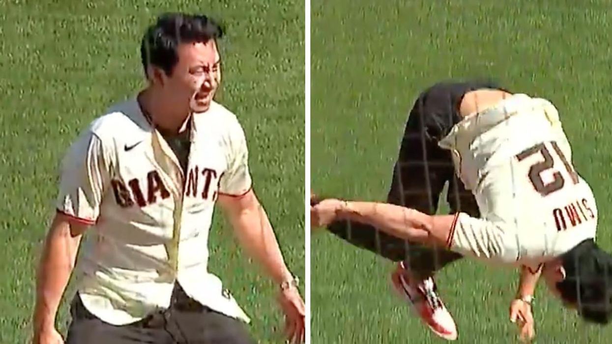 Simu Liu's Incredible First Pitch Proves Why He's Marvel's Newest Superhero Star (VIDEO)