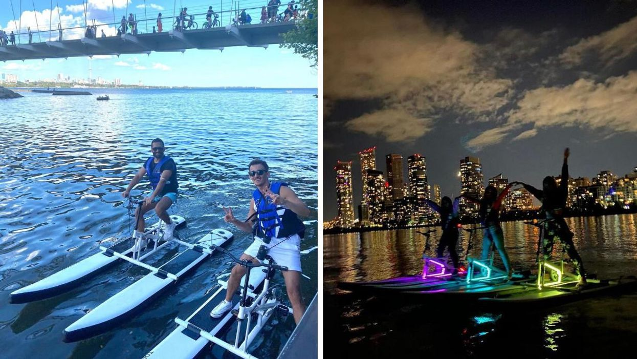 These Floating Toronto Bikes Let You Pedal Around Lake Ontario & They Even Glow In The Dark