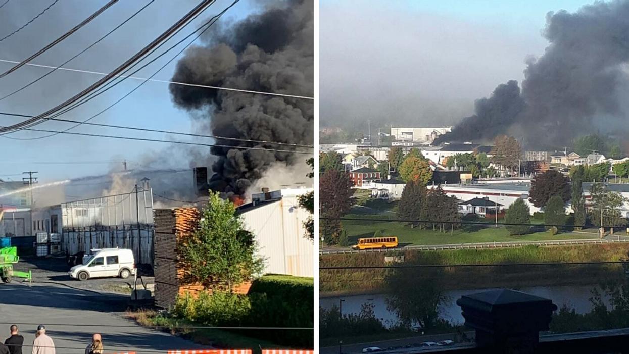 Un incendie ravage une usine à Beauceville et les habitants doivent fermer leurs fenêtres